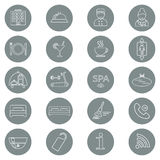 Icons of hotel service. Thin line icon. Hotel glyph. Button. Vector Royalty Free Stock Photography