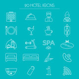 Icons of hotel service. Thin line icon. Hotel glyph. Vector Stock Photos
