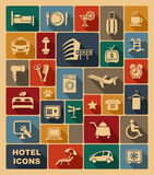 Icons on a hotel theme Stock Photography