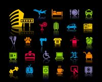 Icons on a hotel theme Royalty Free Stock Photography