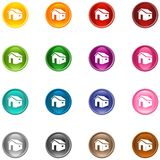 Icons house. 16 colorful shiny house buttons/icons for your application royalty free illustration