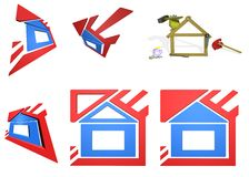 Icons of house. Icons of the house, and the brigade funny builders Royalty Free Stock Images