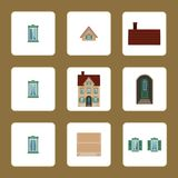 Icons of house with shutters with separate elements stock illustration