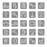 Icons, household goods, appliances, plumbing, white outline, grey background. Stock Photography
