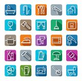 Icons, household goods, plumbing, appliances, colored background, shadow. Stock Images