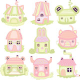 Icons with houses for childrens play Royalty Free Stock Image