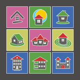 Icons of houses. Set of Icons. Color Icons of Houses Against a Dark Background Stock Photography