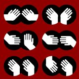 Icons of human hands of various gestures Stock Photo
