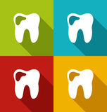 Icons of human tooth with shadows in modern flat design style Stock Images