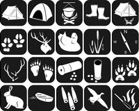 Icons for hunting. The isolated contours of objects for hunting Stock Photo
