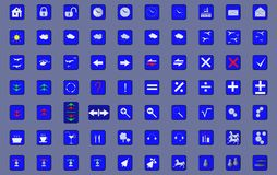 70 icons. 70 icon symbols in programs and devices Royalty Free Stock Image