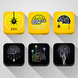 Icons Idea concept. Turn on the brain. Concept of idea Stock Images