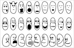 Icons illustrating emotion. Twenty seven icons of faces (artistic line drawings)  illustrating a variety of emotions including laughter, thoughts of love, anger Stock Images