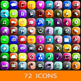 72 icons. Illustration of set of 72 different icons for anything. each icon has shadow and different color. on black background Stock Images