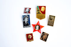 Icons with the image of the Great Lenin.  Stock Images