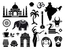 Icons of India. Traditional symbols of India. Simple icons Royalty Free Stock Images