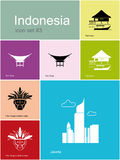 Icons of Indonesia. Landmarks of Indonesia. Set of color icons in Metro style. Editable vector illustration Stock Image