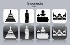 Icons of Indonesia. Landmarks of Indonesia. Set of monochrome icons. Editable vector illustration Royalty Free Stock Photos