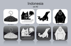 Icons of Indonesia. Landmarks of Indonesia. Set of monochrome icons. Editable vector illustration Stock Photo