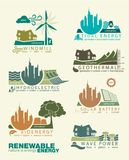 Icons and infographics of renewable energy Stock Images