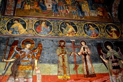 Icons inside the fortified medieval church Biertan, Transylvania. Royalty Free Stock Photography