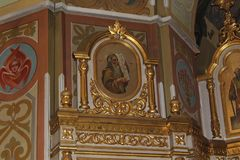 Icons inside the Orthodox Church Royalty Free Stock Image