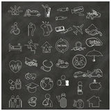 Icons about insurance types, hand-drawn Stock Image