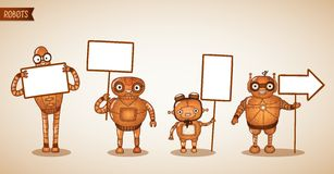 Icons of intelligent machines holding signs Royalty Free Stock Photo