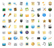 Icons for interface. 72 detailed vector icons for signs and interface symbols Stock Images