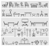 Icons of interior elements. And furniture, vector illustration Royalty Free Stock Image