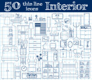 50 icons for Interior. Thin line set in blue colors on notebook. Vector illustration royalty free illustration