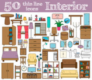 50 icons for Interior. Thin line set in bright colors. Vector illustration vector illustration