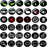 Icons internet black Stock Photography