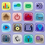 16 Icons on Internet Buttons. 16 icon buttons on the internet on a purple background vector illustration