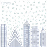 Icons Internet programs and social networking in the city Stock Photo