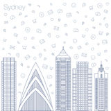 Icons Internet programs and social networking in the city Royalty Free Stock Image