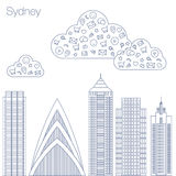 Icons Internet programs and social networking in the city Stock Images