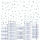 Icons Internet programs and social networking in the city Royalty Free Stock Images
