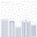 Icons Internet programs and social networking in the city Stock Photos