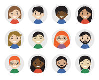 Icons interracial people, flat style. International , avatar. Different icon. Vector illustration Stock Photo