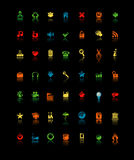 Icons isolated on black Stock Photos