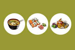 Icons for japanese dishes. Images illustrate japanese traditional kitchen: miso soup, sushi and teriyaki fish Royalty Free Stock Photography