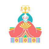 Icons Japanese  empress dolls. Icon in the linear style Royalty Free Stock Photos