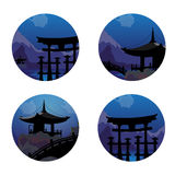 Icons with a Japanese landscape Stock Images