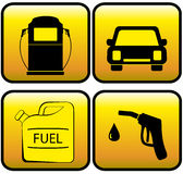 Icons - jerry can, car and close up of gas station Stock Images