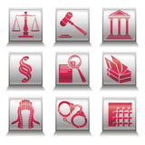 Icons with justice symbols Stock Image