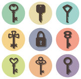 Icons of keys of different shapes. Vector icons of keys of different shapes Stock Image