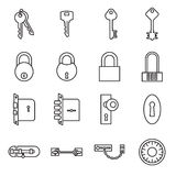 Icons of keys and locks isolated on a white background stock illustration