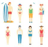 Icons of kids in summer clothing and swimsuits Stock Photos