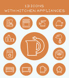 13 icons with kitchen appliances. Set of icons with different kitchen accessories Stock Photography